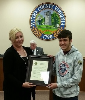 WYTHE COUNTY BOARD RECOGNIZES STATE CHAMPIONSHIP WRESTLER FOR THIRD STATE TITLE WIN