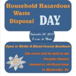 HOUSEHOLD HAZARDOUS WASTE DISPOSAL DAY TO BE HELD ON  SEPTEMBER 28, 2019